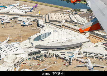 Aerial view of Sydney airport, Australia, on a beautiful sunny day - Stock Photo