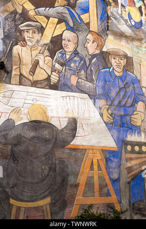 Detail from The Leith Mural, by artists Tim Chalk, Paul Grime and David Wilkinson showing scenes of Leiths maritime and industrial history - Stock Photo