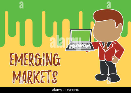 Conceptual hand writing showing Emerging Markets. Concept meaning country that has some characteristics of developed stores Standing businessman holdi - Stock Photo