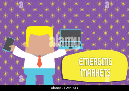 Conceptual hand writing showing Emerging Markets. Concept meaning country that has some characteristics of developed stores Professional man holding l - Stock Photo