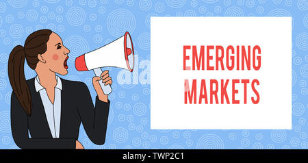 Conceptual hand writing showing Emerging Markets. Concept meaning country that has some characteristics of developed stores Woman Jacket Ponytail Shou - Stock Photo