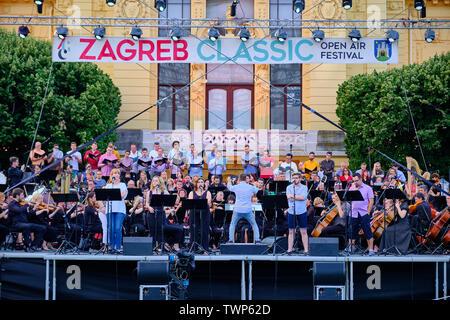 Open public Rehearsal of Symphony Orchestra concert, part of Zagreb Classic Open Air Festival, Zagreb Croatia, June 21, 2019 - Stock Photo