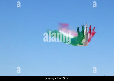 MODENA, ITALY, June 21, 2019 - Frecce Tricolori evolutions in the sky - Stock Photo