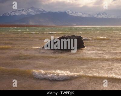 Coast along Ultima Esperanza Bay, near the city of Puerto Natales in Southern Chile - Stock Photo