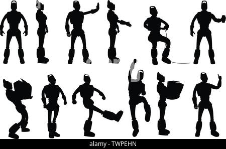 robot silhouettes set in different poses - Stock Photo