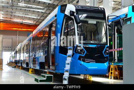08.06.2019. Minsk, Belarus: Swiss rail vehicle manufacturer Stadler executes awarded the contract to manufacture and deliver tramway «Metelista» for t - Stock Photo