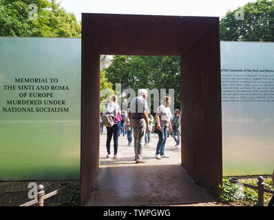 BERLIN, GERMANY - CIRCA JUNE 2019: Denkmal fuer die im Nationalsozialismus ermordeten Sinti und Roma Europas (Memorial to the Sinti and Roma of Europe - Stock Photo