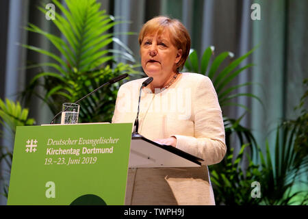 Dortmund, Germany. 22nd June, 2019. German Chancellor ANGELA MERKEL during her speech at the Protestant Church Day (Kirchentag).The 37th Protestant Church Day takes place from 19 through 23 June 2019 in Dortmund. Credit: Maik Boenisch/ZUMA Wire/Alamy Live News - Stock Photo