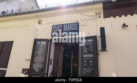 peaky barbers Barbershop in debrecen, Hungary - Stock Photo