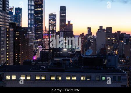 Nighttime view of Hudson Yards, NYC, USA - Stock Photo