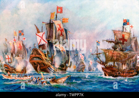 The Glorious Victory of Elizabeth's seamen over the Spanish Armada, 1588' by Charles De Lacy (1856–1929). The Spanish Armada was a Spanish navy fleet famously used by King Philip II of Spain (1527-1598) to attack Britain in 1588. It was defeated by the Royal Navy of England under command of Sir Francis Drake (c.1540-1596) during the reign of Queen Elizabeth I (1533-1603). - Stock Photo