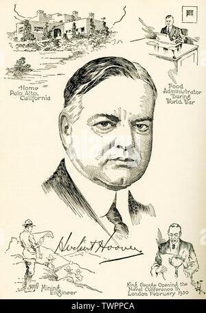 This illustration shows the 31st president of the United States, Herbert Hoover, who served from 1929 to 1933. The labels on the vignettes read, from left to right, top to bottom: Home Palo Alto California, Food Administrator during World Wqar, Mining Engineer, King George opening the Naval Conference in London February 1930. Stock Photo