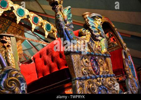 Venetian Gondola Switchback carriage at The Thursford Collection, Thursford, Fakenham, Norfolk, UK - Stock Photo
