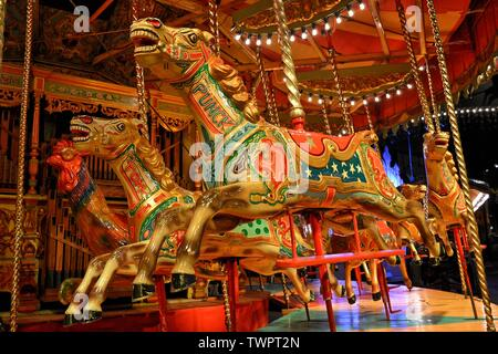Victorian gallopers / horses carousel at The Thursford Collection, Thursford, Fakenham, Norfolk, UK - Stock Photo