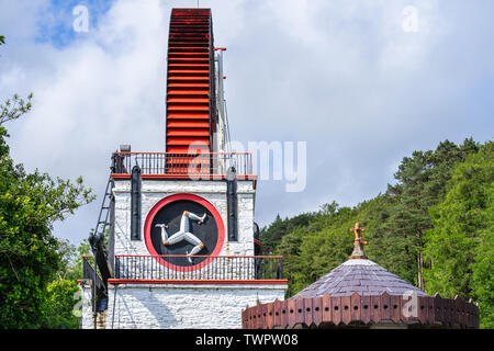 The Laxey Wheel also known as Lady Isabella is built into the hillside above the village of Laxey in the Isle of Man. It is the largest working - Stock Photo