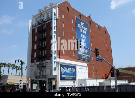 HOLLYWOOD - CALIFORNIA: JUNE 18, 2019: Scientology Building on Hollywood Boulevard  is in the former Hollywood Savings and Loan. - Stock Photo