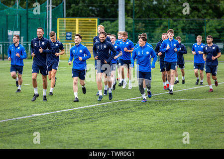 CARDIFF, UNITED KINGDOM. July 13 2019. Cardiff Met FC held an open training session ahead of their Europa League tie against Progrès Niederkorn. - Stock Photo