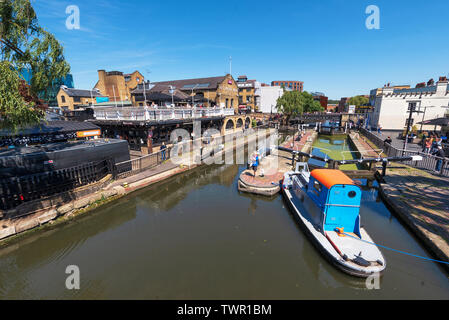 London, United Kingdom - May 13, 2019: Camden Lock, or Hampstead Road Locks is a twin manually operated lock on the Regent's Canal in Camden Town . - Stock Photo