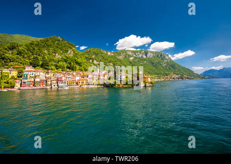 Varenna old town on Lake Como with the mountains in the background, Lombardy, Italy, Europe.