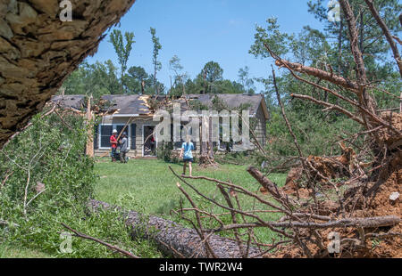 BENTON LA., U.S.A., JUNE 20, 2019: Heavy property damage but no injuries resulted from an EF2 tornado, which struck this north Louisiana neighborhood - Stock Photo