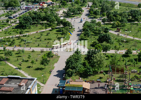 Kiev, Ukraine - May 19, 2019: view from the window of the house to the park Pozniaky