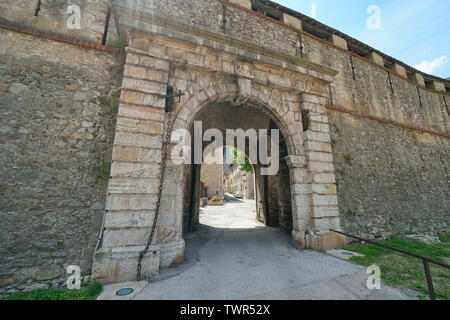 Gate entrance to medieval village Villefranche de Conflent, Pyrenees Orientales, Occitanie, France - Stock Photo