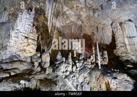 Stalactites and stalagmites in the cave of the Grandes Canalettes, France, Pyrenees-Orientales, Villefranche de Conflent