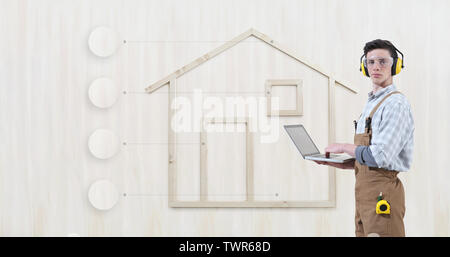 house construction renovation concept handyman carpenter man with laptop computer and infographic list empty symbols icons, isolated with the shape of - Stock Photo