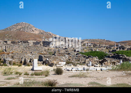 The island of Delos off the coast of Mykonos is a historical port and trading city. - Stock Photo