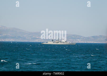 Greek naval destroyer patrols the waters of the Aegean, off Greece - Stock Photo
