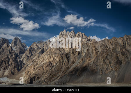 Cathedral Peak & Passu Cones on the way to Hunza Valley, Gilgit Baltistan, Pakistan - Stock Photo