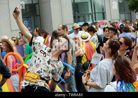 Bucharest, Romania. 22nd June, 2019. People attend the Pride Parade in downtown Bucharest, capital of Romania, on June 22, 2019. About 10,000 people participated in the annual event on Saturday. Credit: Gabriel Petrescu/Xinhua/Alamy Live News - Stock Photo