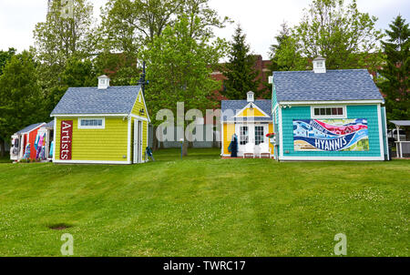 Upper Loop local artist shanties with Welcome to Hyannis banner in Hyannis, Massachusetts on Cape Cod - Stock Photo