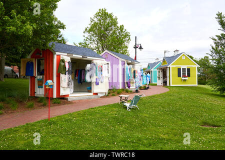 Upper Loop local artist shanties with clothing hanging on display in Hyannis, Massachusetts on Cape Cod - Stock Photo