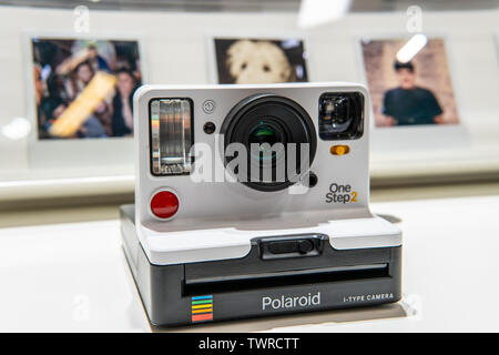 Berlin, Germany, August 29, 2018, Polaroid OneStep2 instant camera at Polaroid exhibition pavilion showroom, stand at Global Innovations Show IFA 2018 - Stock Photo