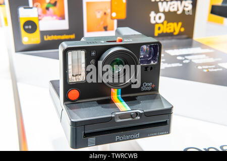 Berlin, Germany, August 29, 2018 Polaroid OneStep+ instant camera makes remote selfies possible, Polaroid exhibition, Global Innovations Show IFA 2018 - Stock Photo