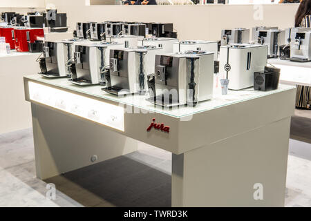 Berlin, Germany, August 29, 2018, Jura automatic coffee machines at JURA exhibition pavilion, stand at Global Innovations Show IFA 2018 - Stock Photo