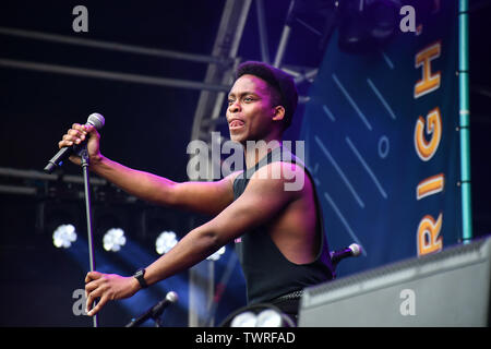 The View Upstairs performs at West End Live 2019 in Trafalgar Square, on 22 June 2019, London, UK. - Stock Photo