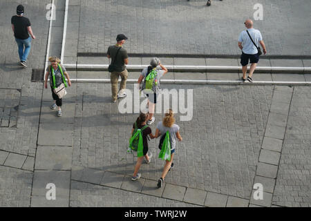 Dortmund, NRW, Germany. 22nd June, 2019. Believers and visitors with green scarves can be seen during the German Protestant Church Congress 2019 (GER: Deutscher Evangelischer Kirchentag 2019) in Dortmund, North Rhine-Westphalia Credit: Jan Scheunert/ZUMA Wire/Alamy Live News - Stock Photo