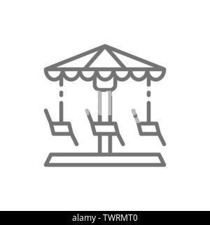 Merry-go-round, carousel, swing line icon. - Stock Photo
