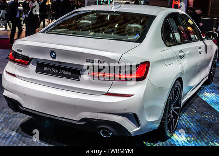 Paris, France, Oct 2018: metallic white all new BMW 3 Series Sedan Berline 320d at Mondial Paris Motor Show, 7th gen, G20 manufactured by BMW - Stock Photo