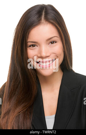 Asian business woman professional portrait. Young female businesswoman close up portrait isolated on white background. Mixed race Asian Caucasian fema - Stock Photo