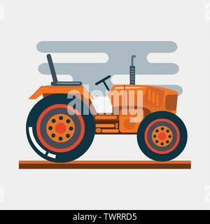 orange tractor vehicle side view vector illustration - Stock Photo