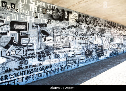 Samara, Russia - June 8, 2019: Street art graffiti on textured wall. Abstract creative drawing on walls of city. Urban contemporary culture - Stock Photo