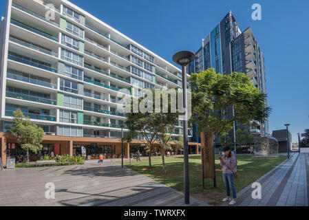 A central town square green space, part of the Discovery Point development of high rise accommodation and apartments at Wolli Creek, Sydney, Australia - Stock Photo