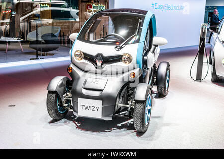 Paris, France, October 09, 2018: small electric Renault Twizy at Mondial Paris Motor Show, produced by French multinational automobile manufacturer Re - Stock Photo