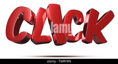 click 3d rendering on white background.(with Clipping Path). - Stock Photo