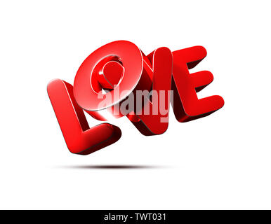 LOVE 3D rendering on white background.(with Clipping Path). - Stock Photo