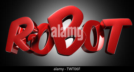 Text Robot red 3D rendering on black background. - Stock Photo