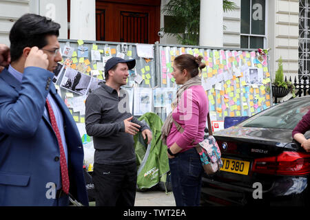 London / UK – June 22, 2019: Richard Ratcliffe (centre) talks to a supporter at the Iranian embassy in London on day 8 of a hunger strike in support of his wife Nazanin Zaghari-Ratcliffe, jailed in Iran - Stock Photo